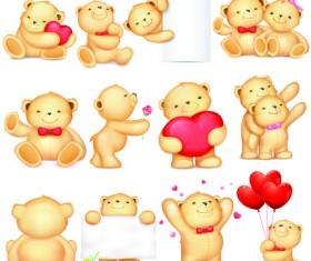 Super cute teddy bear design vector graphics 03