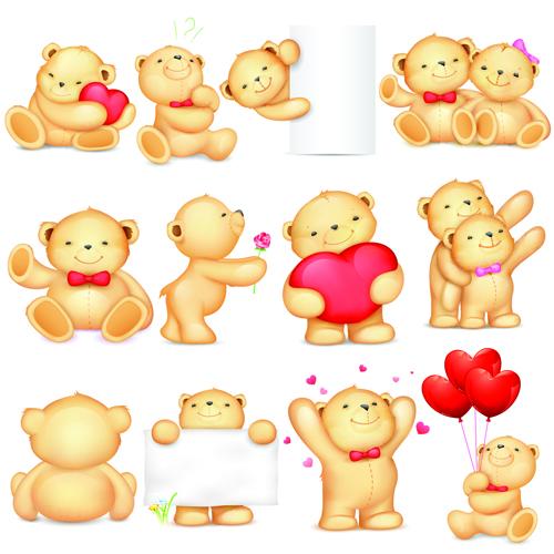 Super Cute Teddy Bear Design Vector Graphics 03 Free Download