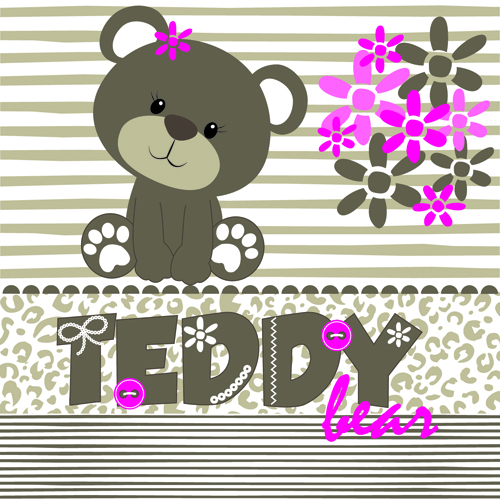 Super cute teddy bear design vector graphics 04