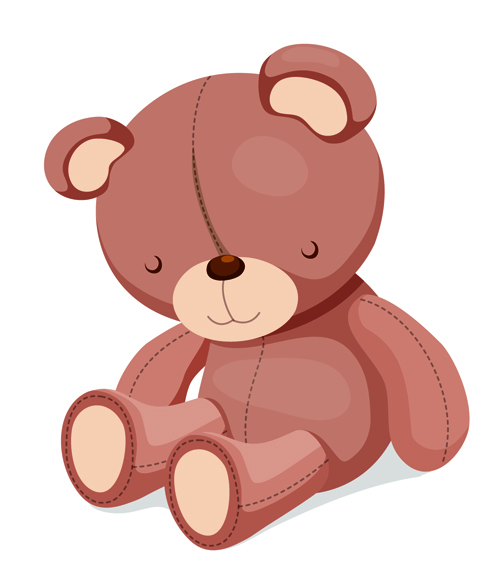 Super cute teddy bear design vector graphics 06