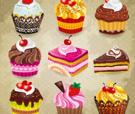 Tasty cupcakes vector icons design