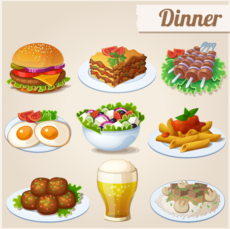 Tasty dinner icons design vector