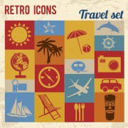 Travel retro icons set vector 01