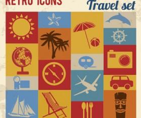 Travel retro icons set vector 01