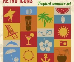 Travel retro icons set vector 02