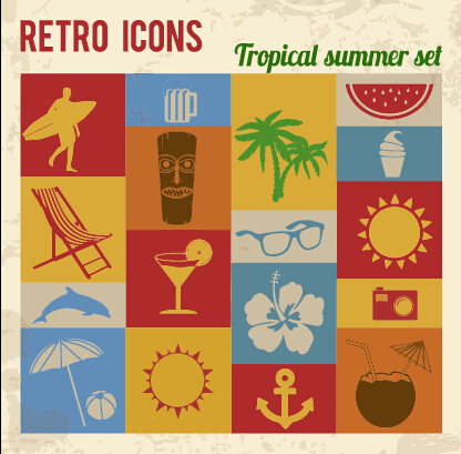 Travel retro icons set vector 02