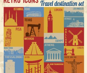 Travel retro icons set vector 03