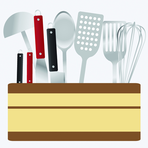 Various kitchen cutlery set vector 01 vector life free for Kitchen set vector