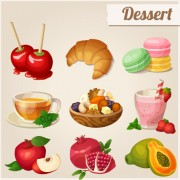 Vector dessert with fruit icons