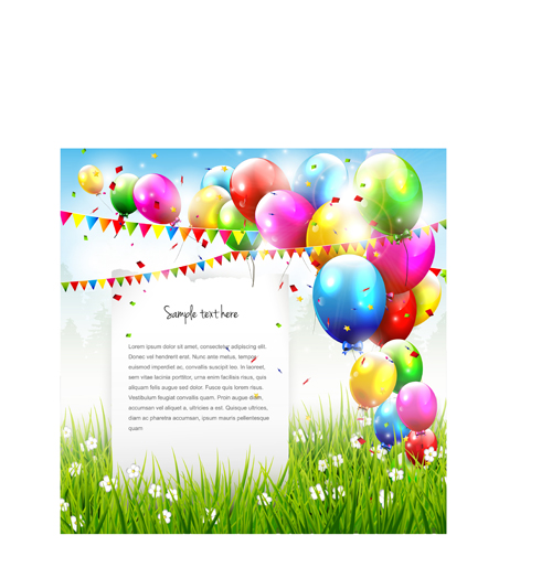 Vector Set Of Birthday Cards Design Elements 01