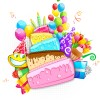 Vector set of birthday cards design elements 07