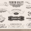 Vector set of calligraphic vintage elements 02