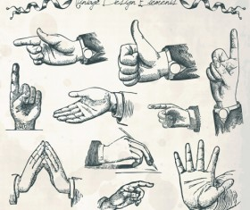 Vector set of different gestures graphic 02
