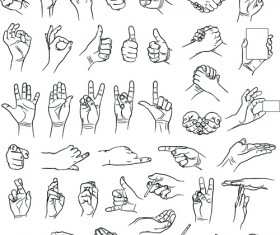 Vector set of different gestures graphic 03
