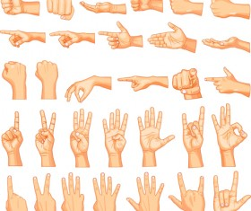 Vector set of different gestures graphic 04