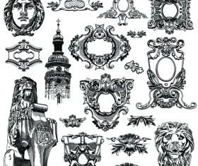 Victorian style decorative elements vector graphics 02