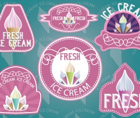 Vintage ice cream labels vector material