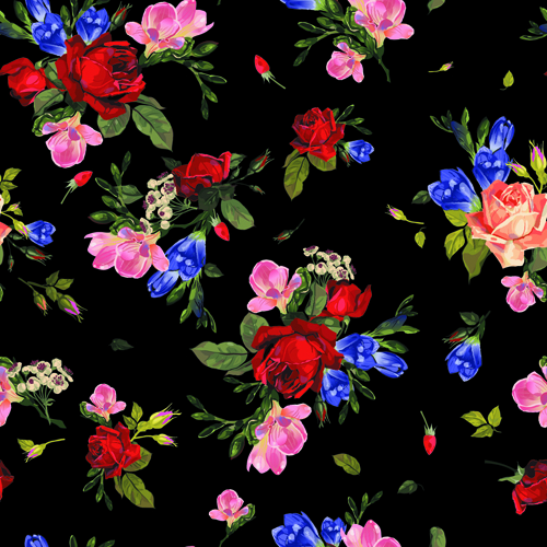 Vintage roses vector seamless pattern 04 - Vector Flower ...