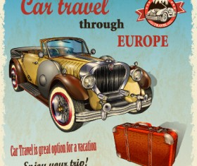 Vintage style car advertising poster vector 01
