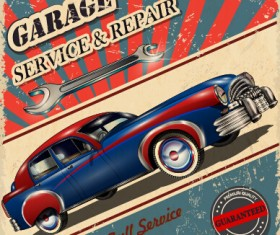Vintage style car advertising poster vector 03