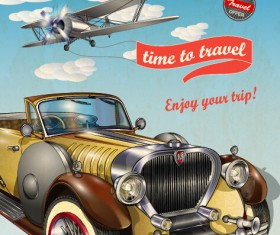 Vintage style car advertising poster vector 04