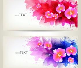 Watercolor floral creative banner vector