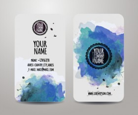 Watercolor grunge business cards vector material 01