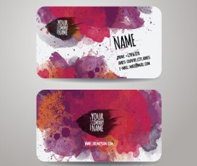 Watercolor grunge business cards vector material 02