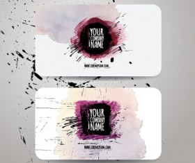 Watercolor grunge business cards vector material 04