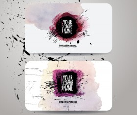 Watercolor grunge business cards vector material 05