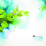 Link toWatercolor with green leaves vector background art