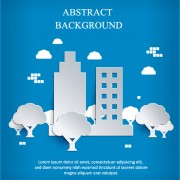Link toWhite paper cut city background vector