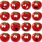 Funny tomato face expressions icons vector