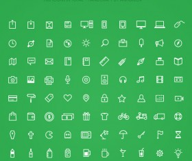 100 kind white outline web icons material