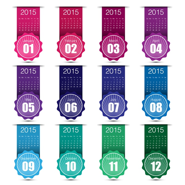 Calendar Dates 2015 2015 Grid Calendar Creative
