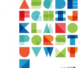Abstract colored alphabet vector material