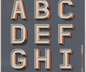 Alphabets retro colour style vector