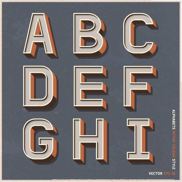 Alphabets retro colour style vector - Vector Font free download