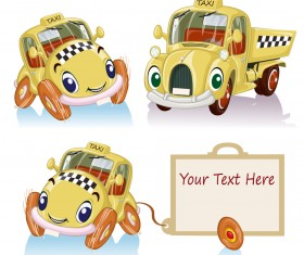 Amusing cartoon cars creative vector design 02
