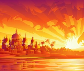 Ancient city with fiery dragon vector background