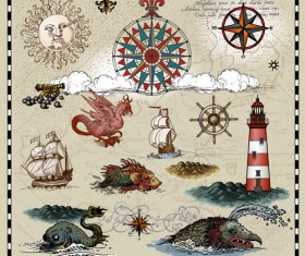 Ancient voyage elements with maps vector 01