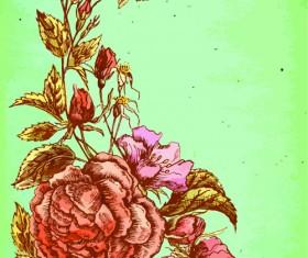 Beautiful flower retro style vector graphics 01