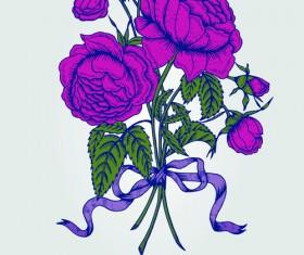 Beautiful flower retro style vector graphics 02