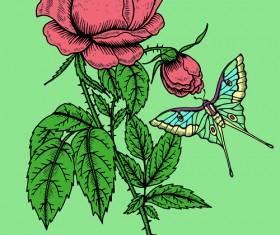 Beautiful flower retro style vector graphics 04
