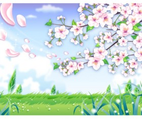 Beautiful flower with nature landscapes background vector 01