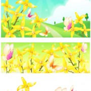 Link toBeautiful flower with nature landscapes background vector 02