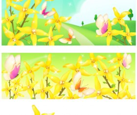 Beautiful flower with nature landscapes background vector 02