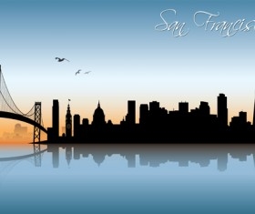 Beautiful waterfront city scenery vector set 07