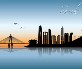 Beautiful waterfront city scenery vector set 08