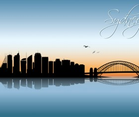 Beautiful waterfront city scenery vector set 09